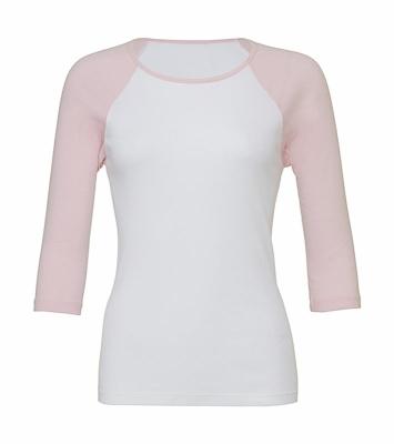 Damen Baseballshirt Shirt 3/4-Arm / Bella 2000 XXL White/Pink