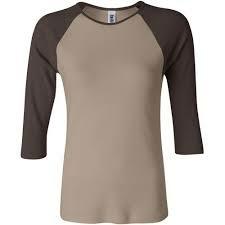 Damen Baseballshirt Shirt 3/4-Arm / Bella 2000 XXL Tan/Chocolate