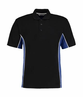 Herren Track Polo-Shirt/ Kustom Kit KK475 3XL Black/Royal/White