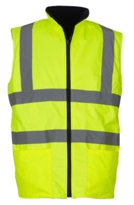 Fluo Fleece Reversible Bodywarmer bis Gr.3XL / Hi-Vis Fleece Yoko HV008F 2XL Fluo Yellow
