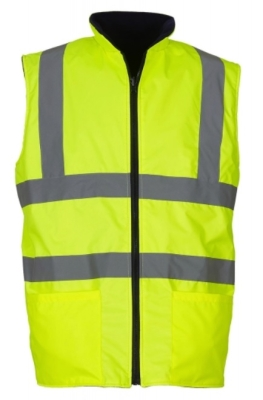 Fluo Fleece Reversible Bodywarmer bis Gr.3XL / Hi-Vis Fleece Yoko HV008F 3XL Fluo Yellow