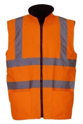 Fluo Fleece Reversible Bodywarmer bis Gr.3XL / Hi-Vis Fleece Yoko HV008F 3XL Fluo Orange
