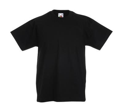 Original T Kids T-Shirt bis Gr.164 (14-15) / Fruit of the Loom 61-019-0 116 (5-6) Black