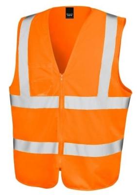 Core Zip Safety Tabard bis Gr.3XL / Result R202X L/XL Fluorescent Orange
