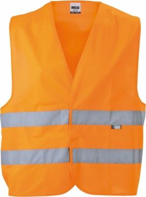 Sicherheitsweste einfach mit Tasche bis Gr.2XL/ James&Nicholson JN200 S-2XL fluorescent-orange