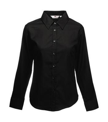 Damen Oxford Bluse Langarm / Fruit of the Loom 65-002-0 / XXL Black