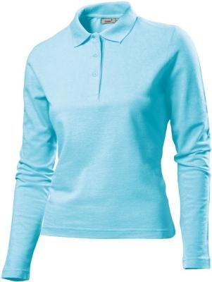 Damen Poloshirt LA / Gr.S, Navy / Hanes G139 L Aqua Blue