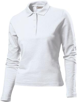 Damen Poloshirt LA / Gr.S, Navy / Hanes G139 L White