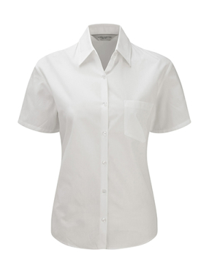 Damen Popeline Kurzarm Bluse, Hemd / Russell Europe 937F 2XL White