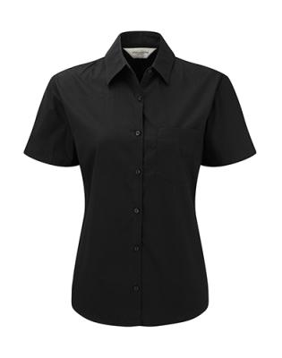 Damen Popeline Kurzarm Bluse, Hemd / Russell Europe 937F 2XL Black
