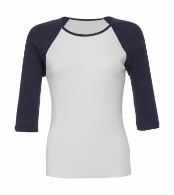 Damen Baseballshirt Shirt 3/4-Arm / Bella 2000 L White/Navy
