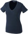 Damen V-Tshirt bis Gr.2XL / James & Nicholson  S Navy