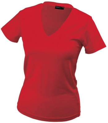 Damen V-Tshirt bis Gr.2XL / James & Nicholson  S Red