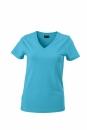Damen V-Tshirt bis Gr.2XL / James & Nicholson  S Turquoise