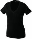 Damen V-Tshirt bis Gr.2XL / James & Nicholson  M Black