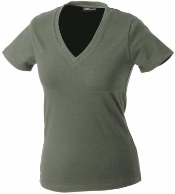 Damen V-Tshirt bis Gr.2XL / James & Nicholson  M Olive