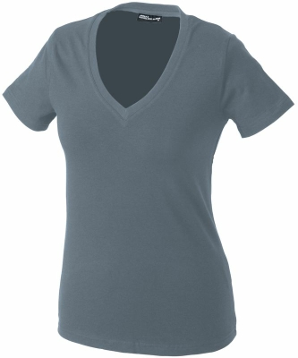 Damen V-Tshirt bis Gr.2XL / James & Nicholson  M Mid Grey