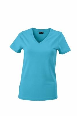 Damen V-Tshirt bis Gr.2XL / James & Nicholson  M Turquoise
