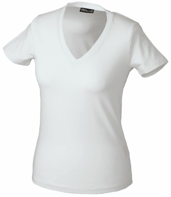 Damen V-Tshirt bis Gr.2XL / James & Nicholson  L White