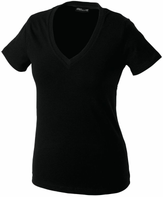 Damen V-Tshirt bis Gr.2XL / James & Nicholson  L Black