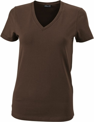 Damen V-Tshirt bis Gr.2XL / James & Nicholson  L Brown