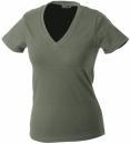 Damen V-Tshirt bis Gr.2XL / James & Nicholson  L Olive