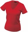 Damen V-Tshirt bis Gr.2XL / James & Nicholson  L Red