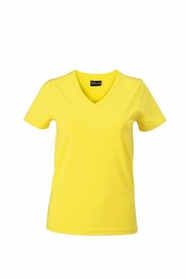 Damen V-Tshirt bis Gr.2XL / James & Nicholson  L Yellow