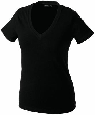 Damen V-Tshirt bis Gr.2XL / James & Nicholson  XL Black