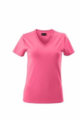 Damen V-Tshirt bis Gr.2XL / James & Nicholson  XL Pink