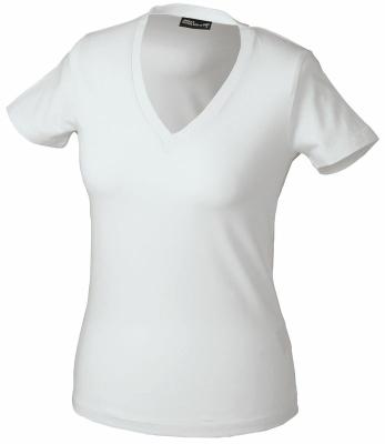 Damen V-Tshirt bis Gr.2XL / James & Nicholson  2XL White