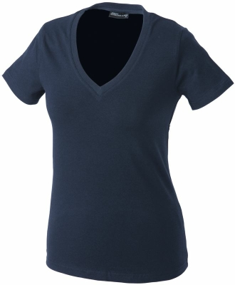 Damen V-Tshirt bis Gr.2XL / James & Nicholson  2XL Navy