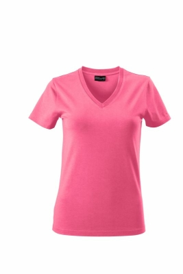 Damen V-Tshirt bis Gr.2XL / James & Nicholson  2XL Pink