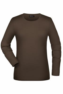 Langarmshirt Damen bis Gr.2XL / James & Nicholson JN054 S Brown