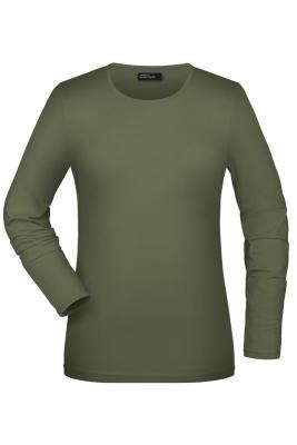Langarmshirt Damen bis Gr.2XL / James & Nicholson JN054 M Olive