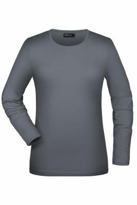 Langarmshirt Damen bis Gr.2XL / James & Nicholson JN054 M Mid Grey