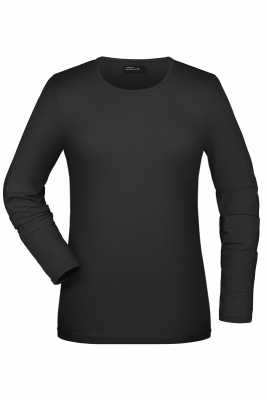 Langarmshirt Damen bis Gr.2XL / James & Nicholson JN054 L Black