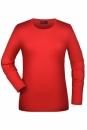 Langarmshirt Damen bis Gr.2XL / James & Nicholson JN054 L Red