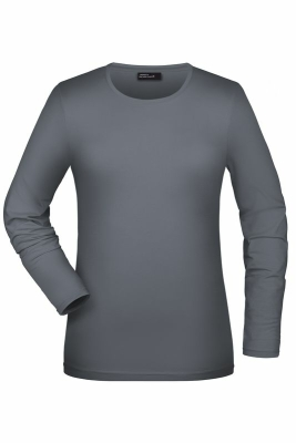 Langarmshirt Damen bis Gr.2XL / James & Nicholson JN054 L Mid Grey