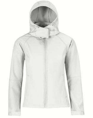 Damen Kapuzen Softshell Jacke / B&C Hooded Softshell Women M White