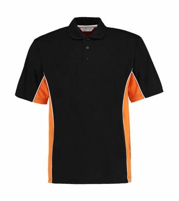 Herren Track Polo-Shirt/ Kustom Kit KK475 L Black/Gold/White