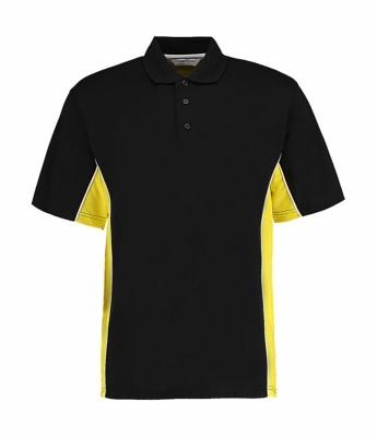 Herren Track Polo-Shirt/ Kustom Kit KK475 L Black/Sun Yellow/White