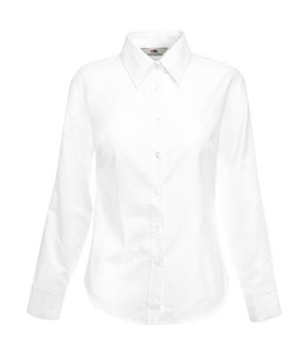 Damen Oxford Bluse Langarm / Fruit of the Loom 65-002-0 L White