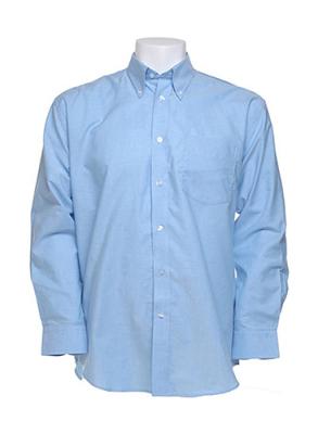 Oxford Langarm Herrenhemd / Kustom Kit KK351  15.5 Inch (39/40cm Halsumfang) Light Blue