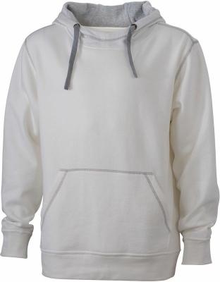 Herren Kapuzensweater bis Gr.3XL / James Nicholson JN961 XL Offwhite/Grey Heather